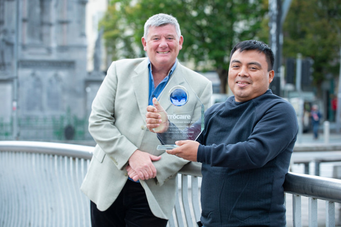 Broadcaster John Creedon presents Guatemalan activist Abelino Chub Caal with Trócaire's Romero International Award in Cork City. The Romero award, named in honor of the late Oscar Romero, is given in recognition of outstanding Human Rights work by a Tróca