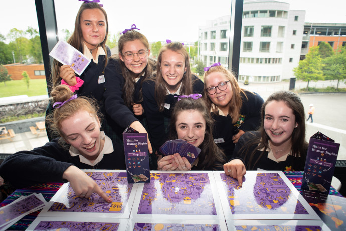 Loreto Secondary School, Balbriggan were winners in the Post-Primary category as well as overall winners of the Game Changers event by popular vote with their game 'The Hunt for Human Rights'. Eve Mathews, Molly Egan, Jaia Kavanagh, Laura Masterson, Ellen