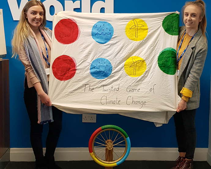 "Amy Cronin and Ellen O' Leary created ""The Twisted Game of Climate Change"" to teach young children about the impact of climate change. Photo : Trócaire."