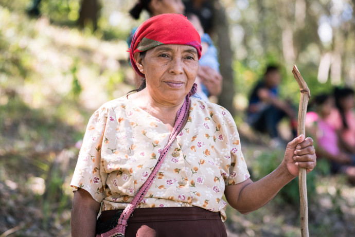 aria Mercedes Gomez, 65, is from the Rio Blanco community who are resisting the construction of a hydro-electric dam.
