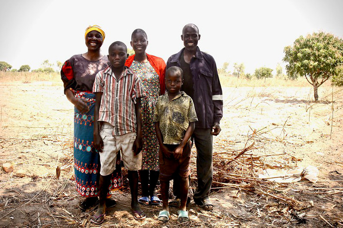 Fanny Chigamba and Wyson Kalembo with daughter Mercy Kalembo, 18 and grandsons Mailosi, 14 and Yusuf 10.