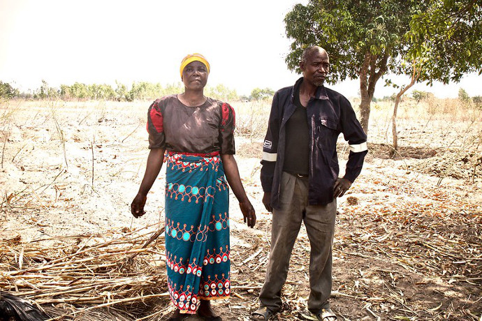 Fanny Chigamba and Wyson Kalembo. They are one of forty four families who have benefitted from an irrigation scheme providing ten water pumps to theie community in Machinga, Malawi. They also received two goats in November 2017 and training in how to care