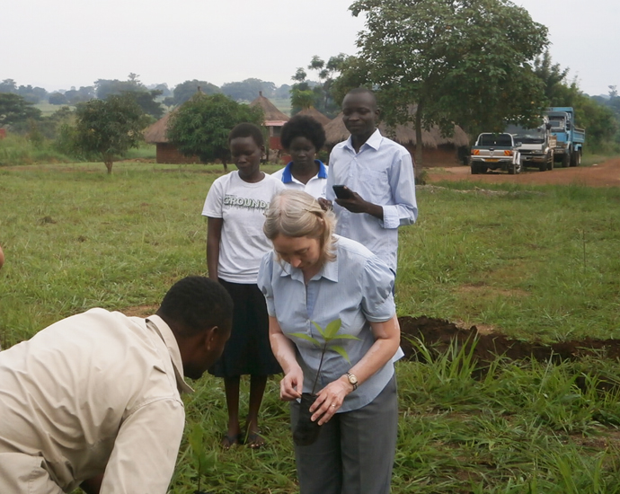Alison planting a tree in West Nile