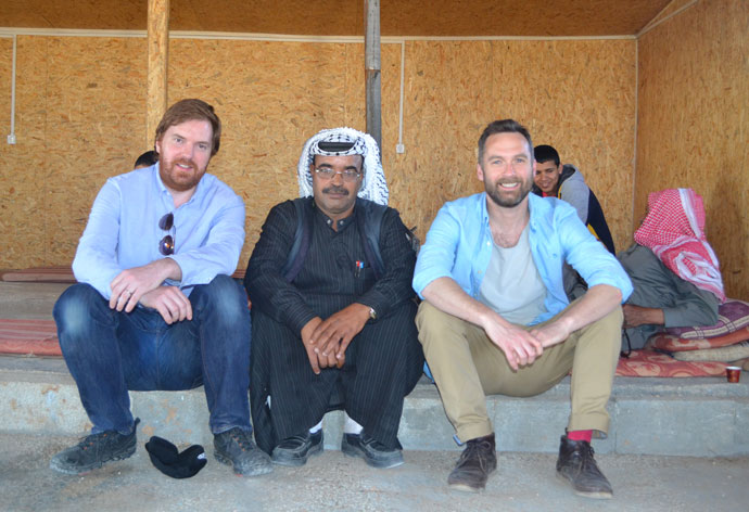 2FM's Bernard O'Shea and Keith Walsh with Daoud Eid Bsesat Jahalin, a farmer on the outskirts of Jerusalem whose community is under threat of house demolition to facilitate further illegal settlement expansion.