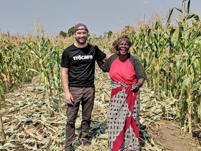 2fm's Keith Walsh with Lene Nanthabwe's community in Machinga, Malawi. Photo: Karen McHugh/Trócaire.