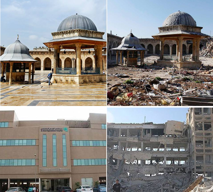 buildings before and after bombing in aleppo