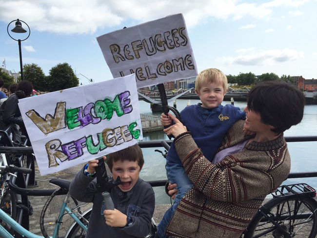 Young Brothers at the refugee solidarity event in Dublin on September 5th