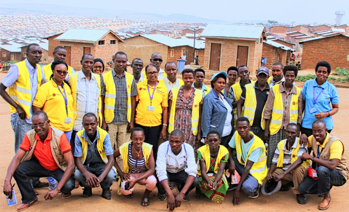 Caritas volunteers at Mahama Camp, Rwanda