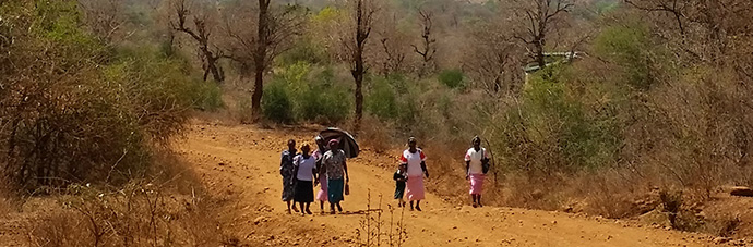 Women walk to the market close to Chuka in the Tharaka district of central Kenya