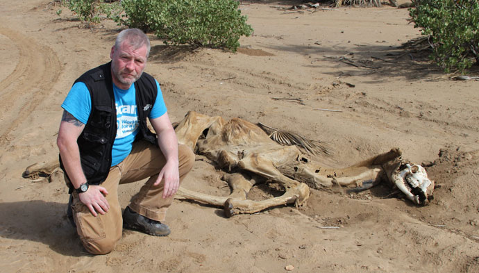David O'Hare with dead camel in northern Kenya