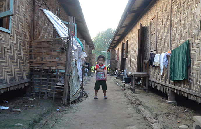 A child at a camp for displaced people in Kachin State, northern Myanmar