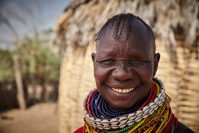 Elizabeth Egelan from St. Denis area in Kataboi, Turkana central is one of the individuals who received food packages in Turkana, Kenya.