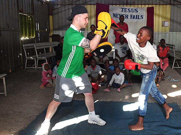 Frampton boxing in Mukuru slum, Nairobi