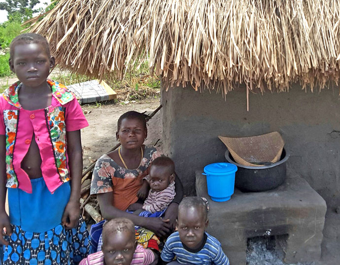 Grace and her family at Biringi camp