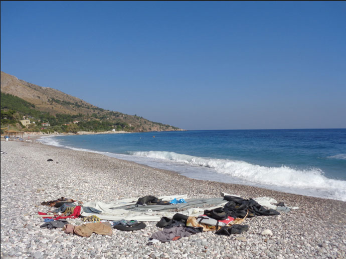 The coast of Chios, Greece. Syrians and other refugees are crossing the sea from Turkey in perishable plastic boats.