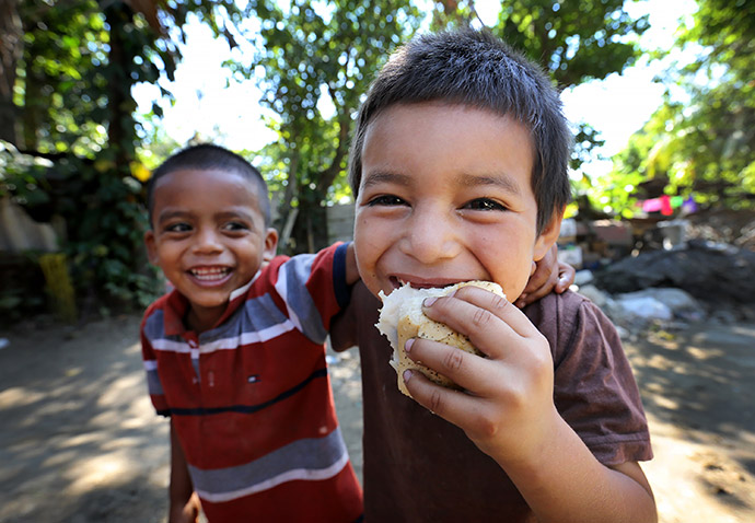 Children laughing in Honduras