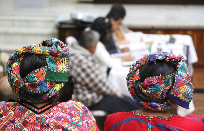 Indigenous women attending one of the audiences in solidarity with the women of Sepur Zarco