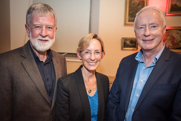 Caoimhe De Barra with former Executive Directors of Trócaire Eamonn Meehan and Justin Kilcullen