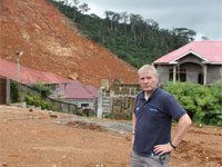 David standing near the site at Matome where hundreds of Sierra Leoneans lost their lives.
