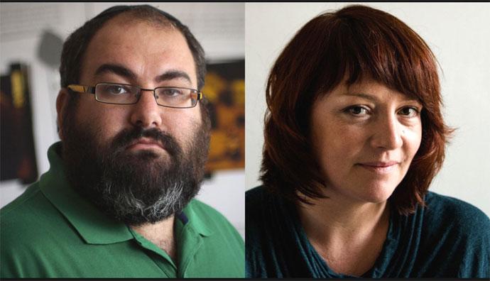 Author Eimear MacBride and Israeli activist Yehuda Shaul