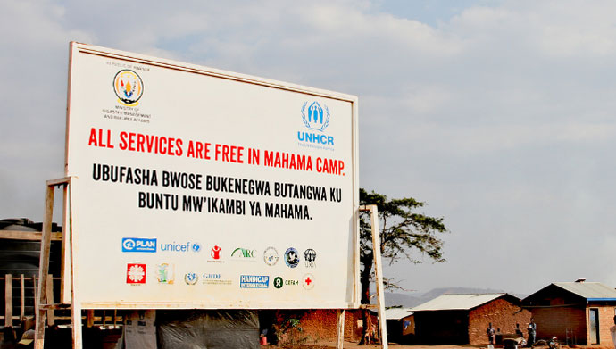 Sign at mahama camp