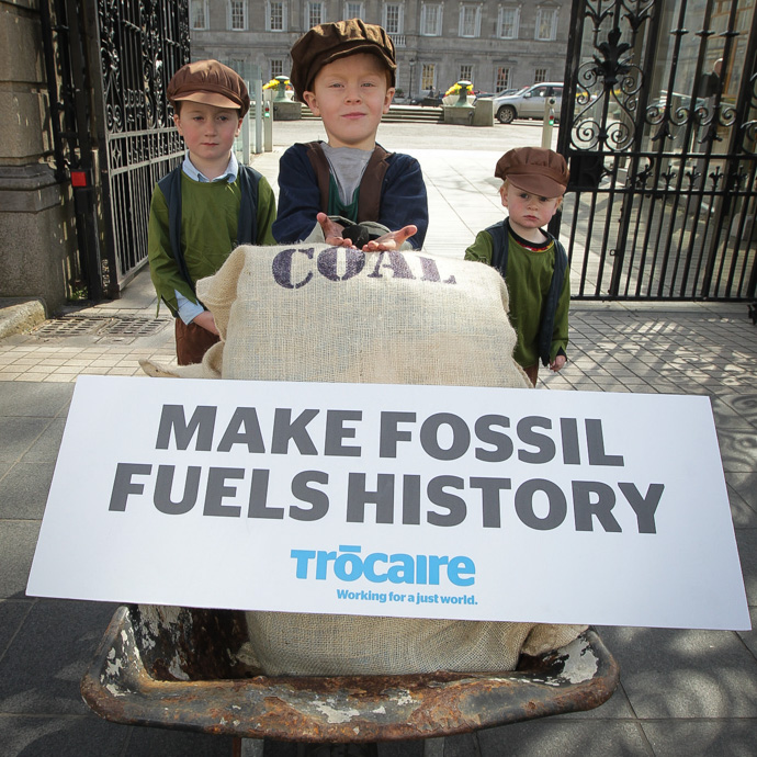 Connla (2), Conal (4) amd Ian (6) at the launch of Trócaire's fossil fuel divestment campaign at Leinster House. (Photo: Mark Stedman)