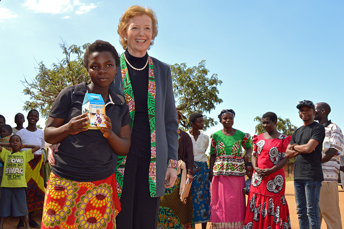 Mary Robinson and Ernestina, now 15 years old. Photo: Cosmos Chikalamba/Trócaire
