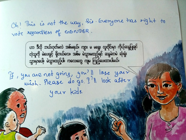 Literature encouraging women in Myanmar to exercise their right to vote in the upcoming election