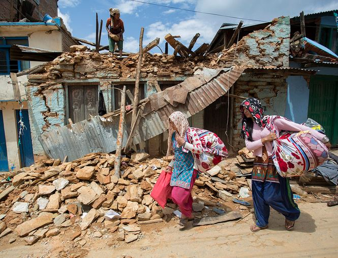 Badly damaged houses after the Nepal earthquake