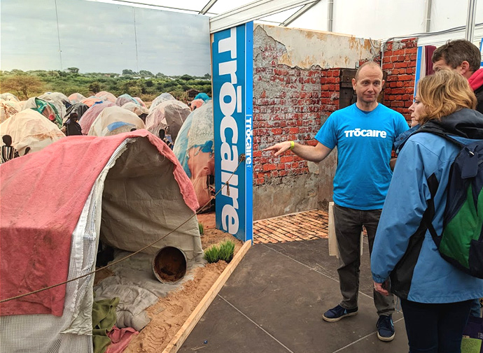 The exhibition shows a refugee tent which highlights the difficult living conditions for people who have been displaced by drought and conflict.