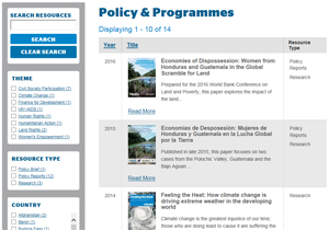 honduras policy and programme
