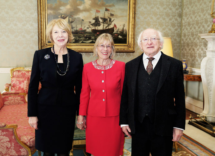 Sally O Neill with President Michael D Higgins and Sabina Higgins