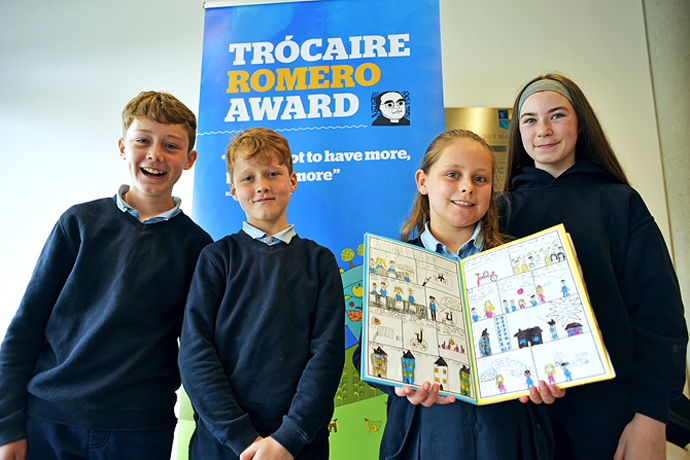 Brothers Eoghan and Emmet Killeen, Maiya Finnerty and Marianne Monaghan from Attyrory national school, Ballinasloe, Galway