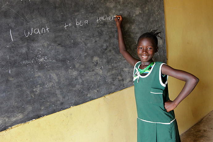 Rugiatu (9) at school in the Kambia district of Sierra Leone.