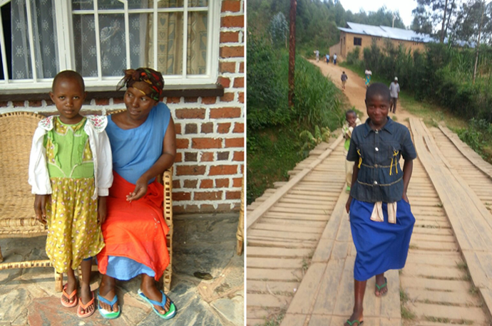 Nyiransabimana Francoise with her child, a young villager crosses the new bridge