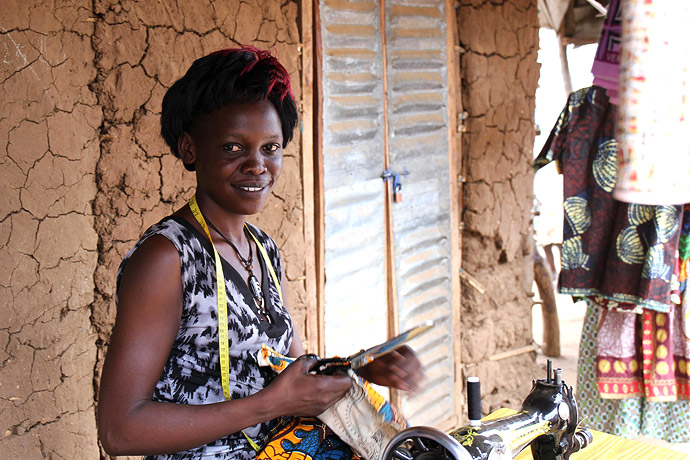 Jackline Sitima, 25, seamstress from South Sudan in Bidi Bidi camp