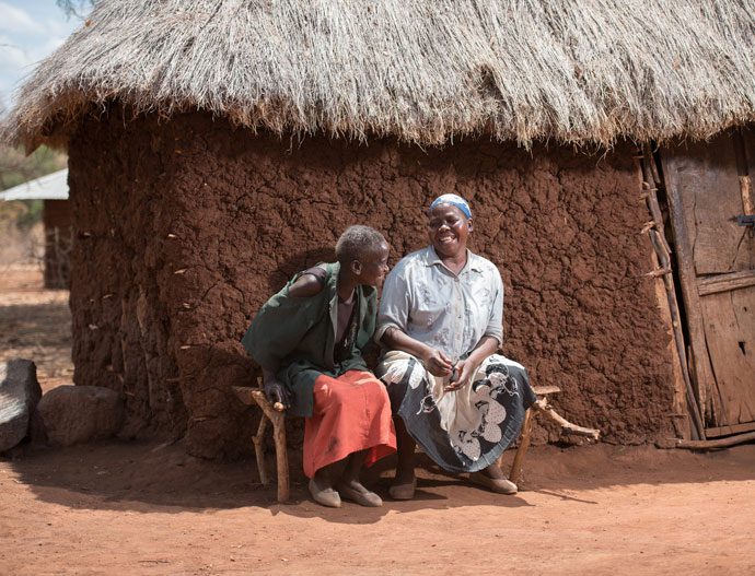 Teresina Karini (45) outside her home in Tharaka Nithi