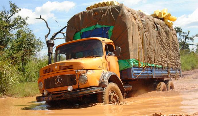 truck bringing supplies to biringi