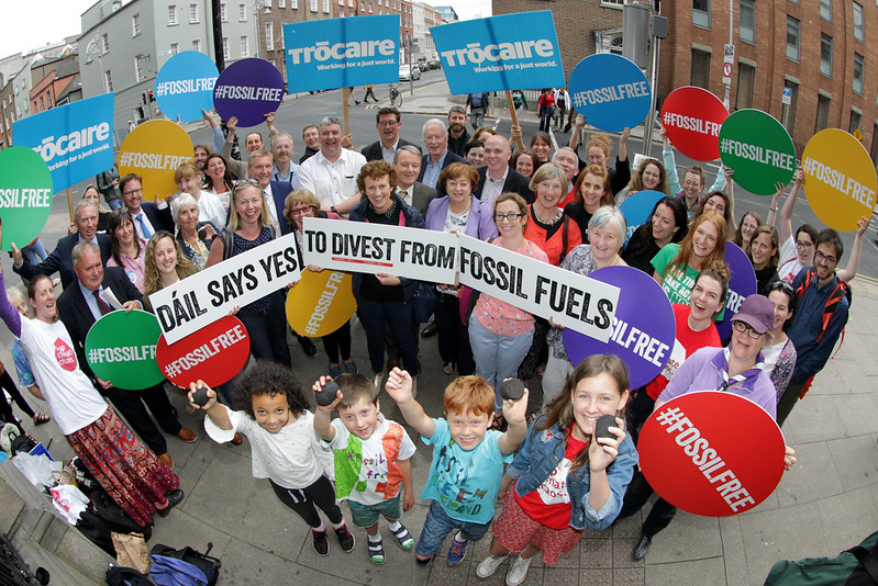 Celebrations outside Leinster House as the Dáil says Yes to Divest from Fossil Fuels on Thursday July 12th 2018. (Photo: Mark Stedman)