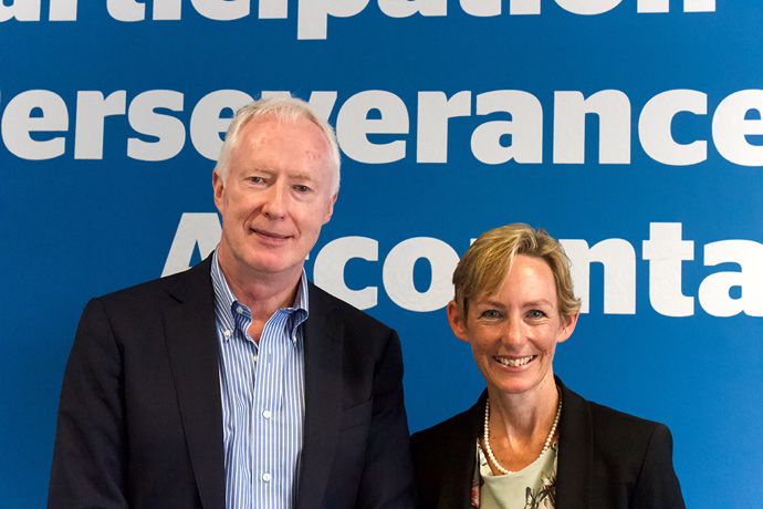 Eamonn Meehan, current Executive Director of Trócaire who retires this October, together with Caoimhe de Barra, new CEO of Trócaire. Photo : Alan Whelan.