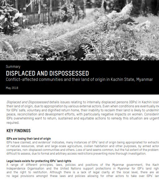 Displaced and Dispossessed – IDP Land in Kachin, Myanmar