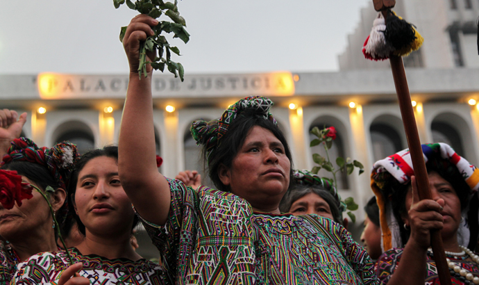 Maria Soto and other Ixil women celebrate after former Guatemalan dictator Rios Montt was found guilty of genocide against indigenous people in the 1980s. The election in Brazil will increase threats against indigenous communities across the region. (Photo: Elena Hermosa)