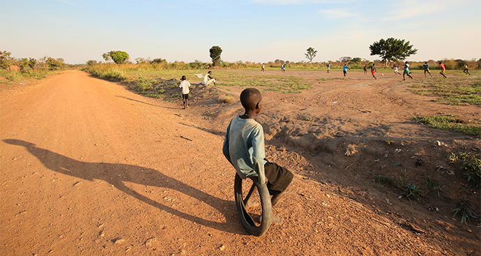 Children play freely at a refugee camp in Uganda after escaping war in South Sudan.