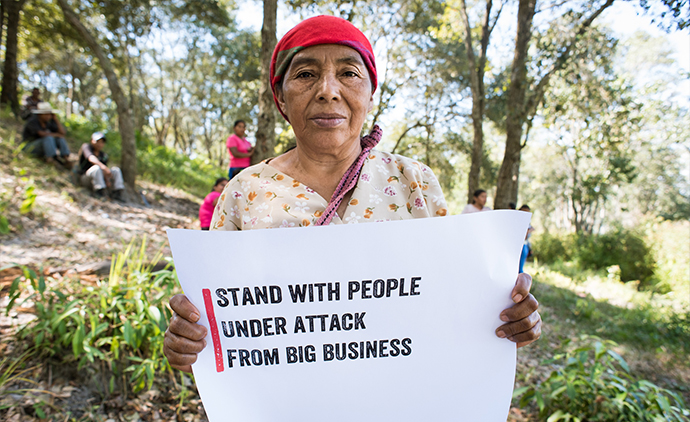 Maria Mercedes Gomez, 65, is from the Rio Blanco community who are resisting the construction of a hydro-electric dam. Maria is a member of the Rio Blanco Elderly Indigenous Council. Photo : Garry Walsh