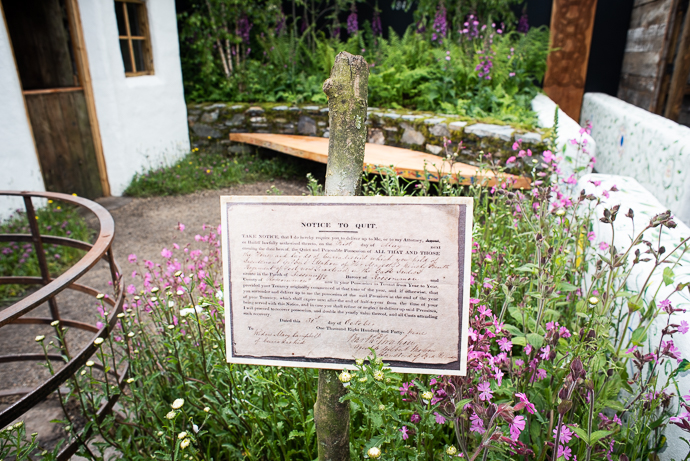 Notice to quit : the Irish half of the garden tells the story of our own history of land issues, and evictions in the 19th century. Photo : Garry Walsh