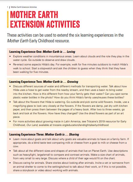 Mother Early – Extension Activities