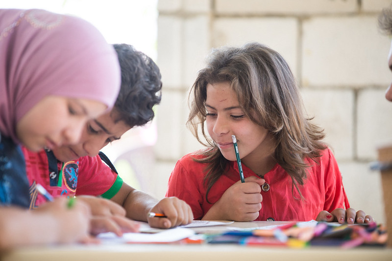 Trocaire partner SAWA  provide a 'Safe Haven' centre for refugee families. Children get to do art, play games, receive psychological support and meet other children. Photo: Simon Walsh/ Trócaire.