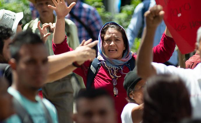 Human Rights Defender, Adilia Castro, at a protest before lockdown in Honduras - Photo : Giulia Vuillermoz