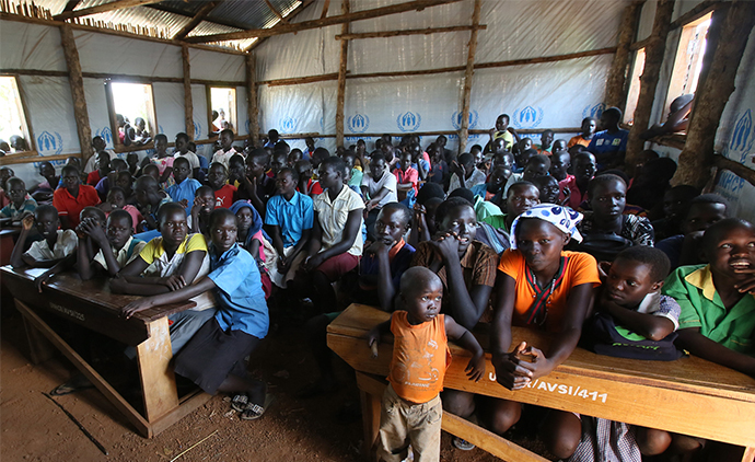 Awich primary school in the Palabek Refugee Settlement Camp, Uganda where thousands have fled from conflict in South Sudan. Photo: Mark Stedman.