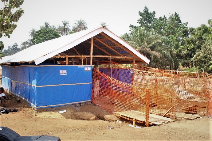Screening booth in Kambia, constructed by KADDRO